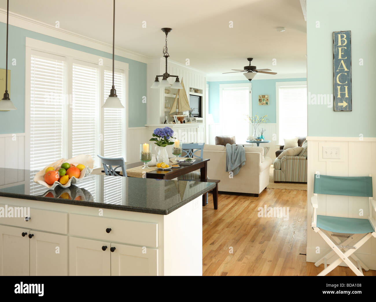 Beach house interior - Stock Image