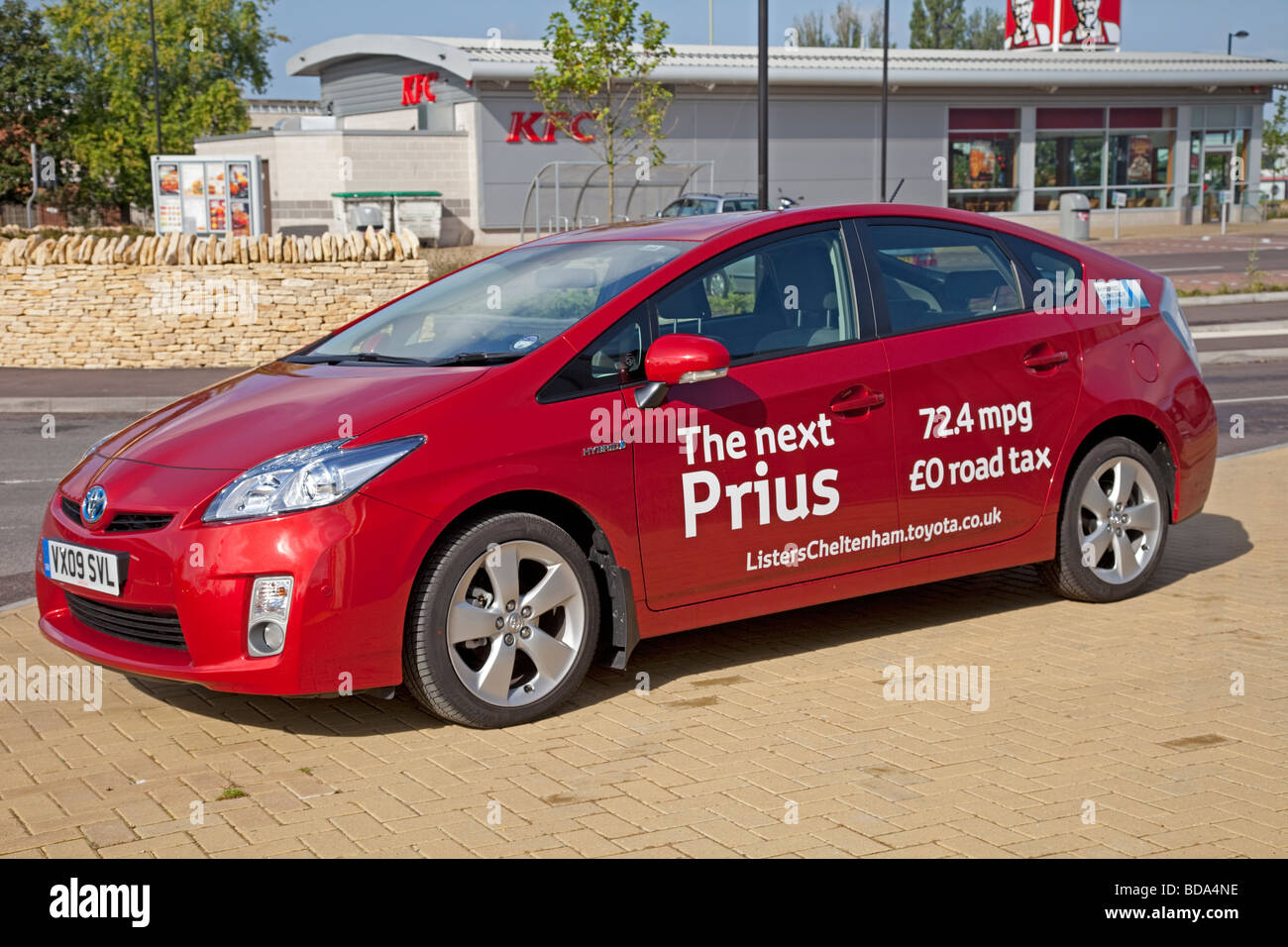 New Prius T3 Hybrid Red Motor Car August 2009 Parked Outside Homebase In  Cheltenham