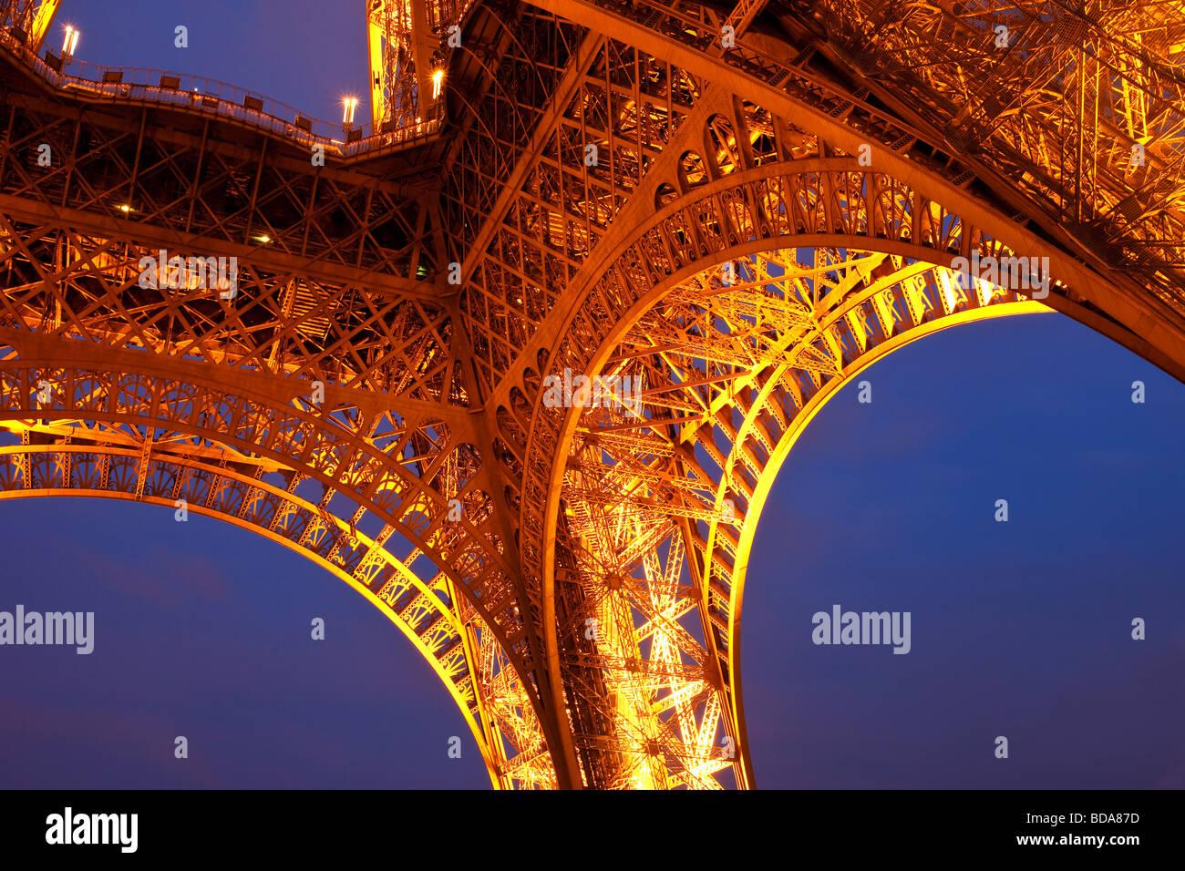 Eiffel Tower at night, Paris France - Stock Image