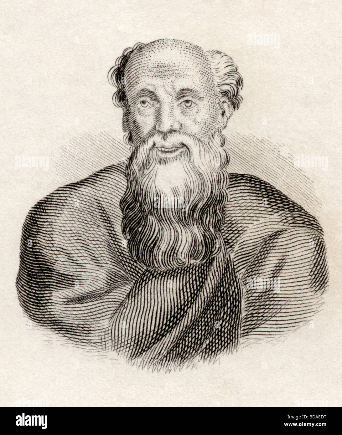 Democritus born circa 460 BC died circa 370 BC.  Ancient Greek philosopher. - Stock Image