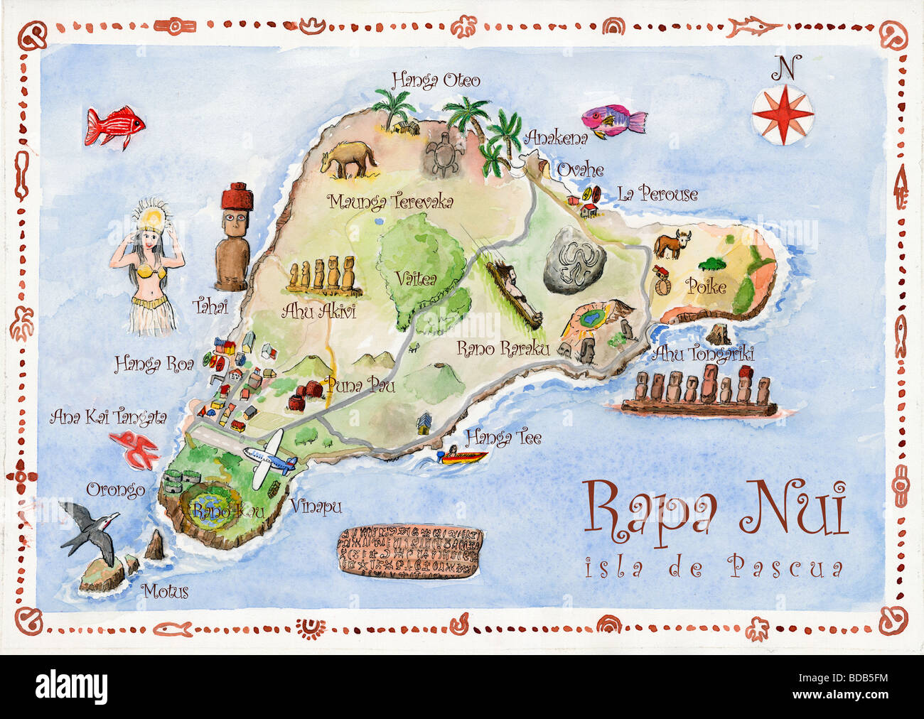 Easter Island Map Chile Stock Photo 25446728 Alamy