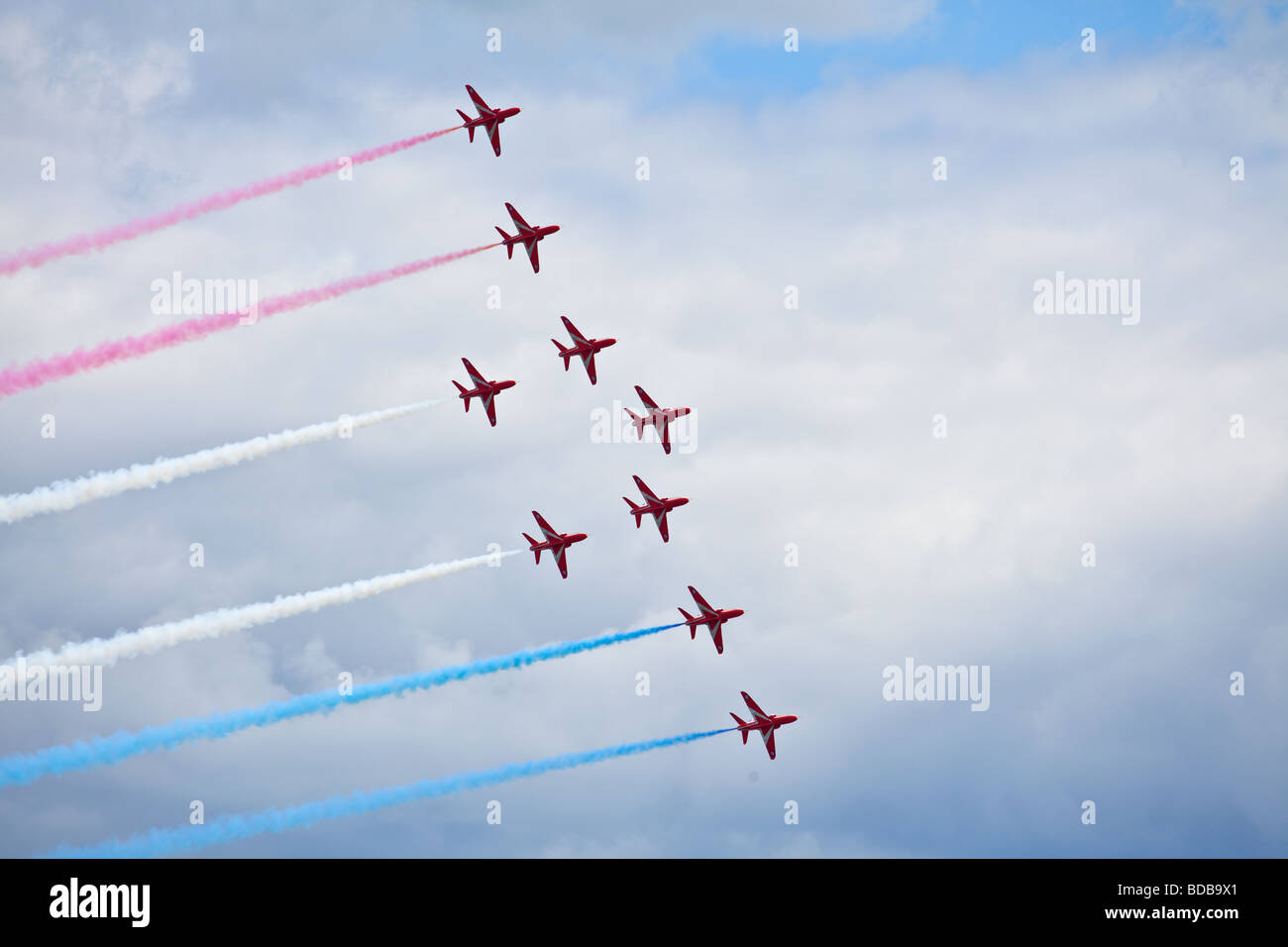 the red arrows display team flying over Sunderland airshow - Stock Image