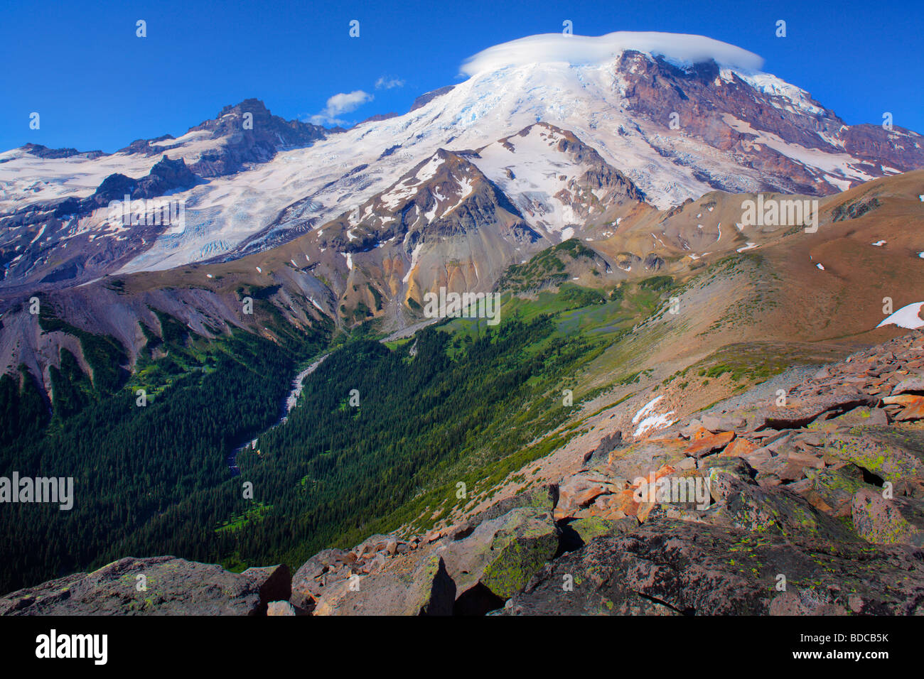 Mount Rainier from 2nd Burroughs Mountain - Stock Image