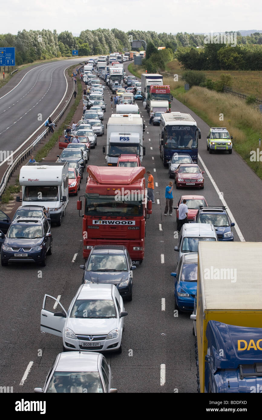 Road Traffic Accident On The M40 - Stock Image