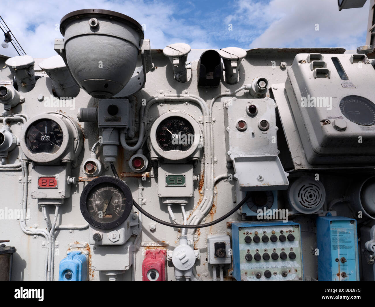 Detail of control dials on bridge of destroyer Smaland at Maritime Museum in Gothenburg Sweden - Stock Image