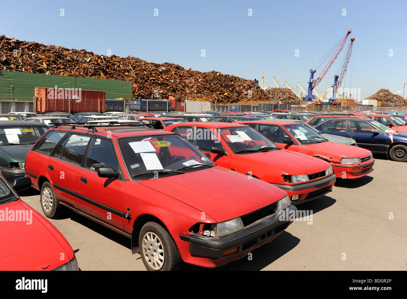 Germany Hamburg , used old cars await export to africa Cotonou Benin ...