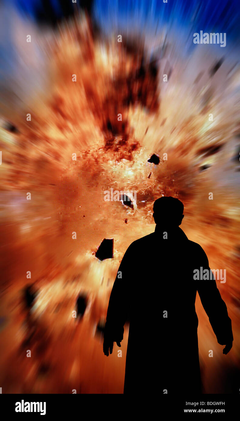 bomb squad man checking explosion - Stock Image