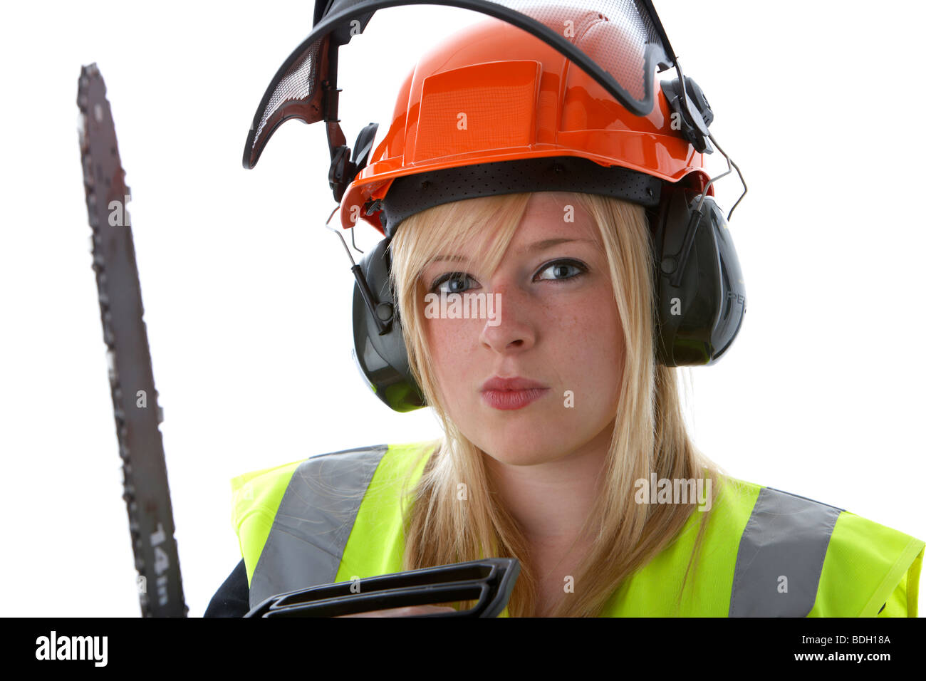 young 20 year old blonde woman wearing orange hard hat ear