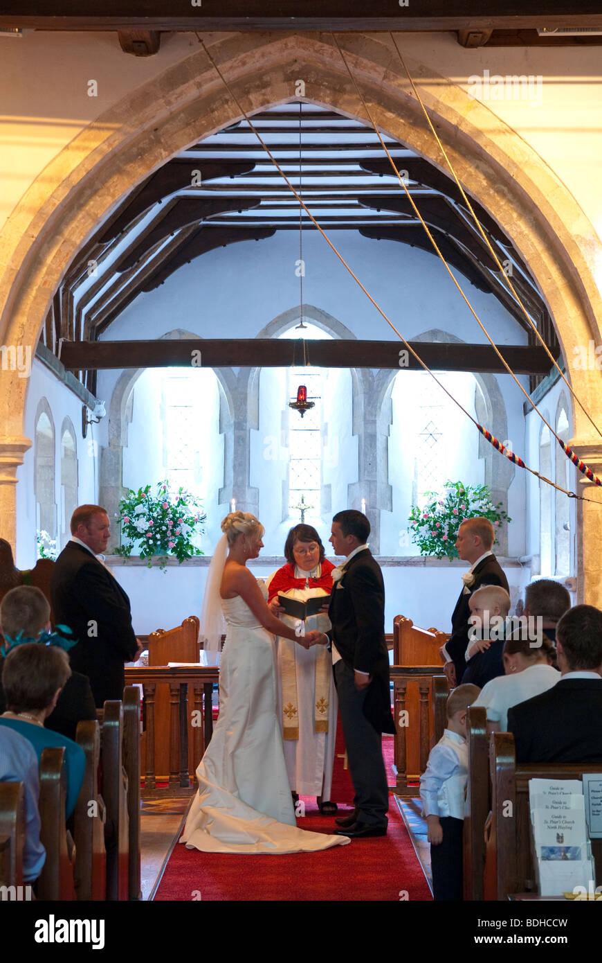 Wedding Service In Church Of England Church Stock Photo 25583849