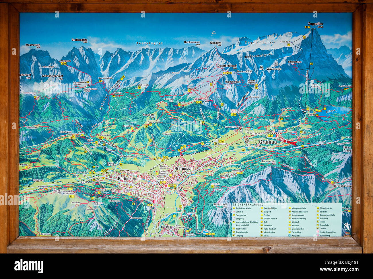Tourist information map in the town of Grainau in the Bavarian Alps ...
