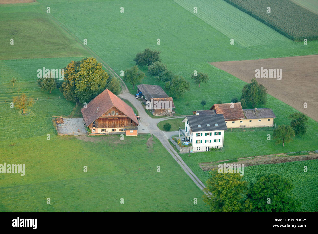 A typical Swiss farm from above, Buttisholz, Switzerland, Europe - Stock Image