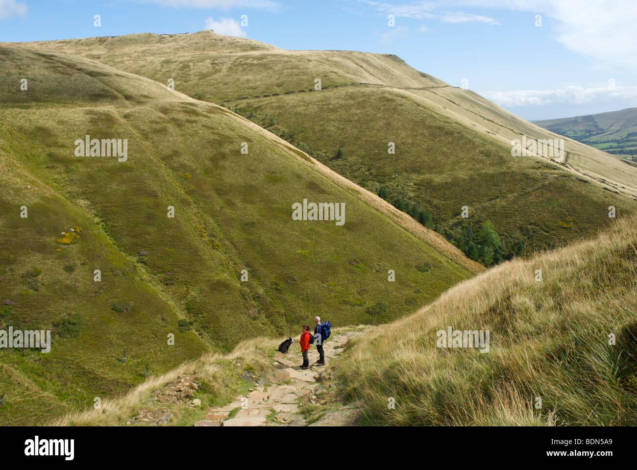 Walkers on Jacob's Ladder, on Pennine Way, near Edale, Peak National Park, Derbyshire, England UK - Stock Image