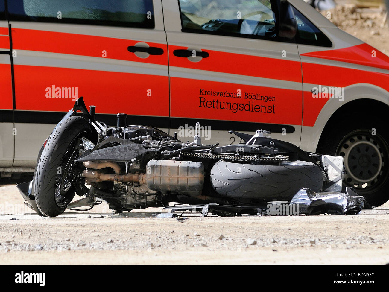 Fatal traffic accident, motorcycle and ambulance, crossing the street K 1013 between Flacht and Perouse, Rutesheim, - Stock Image