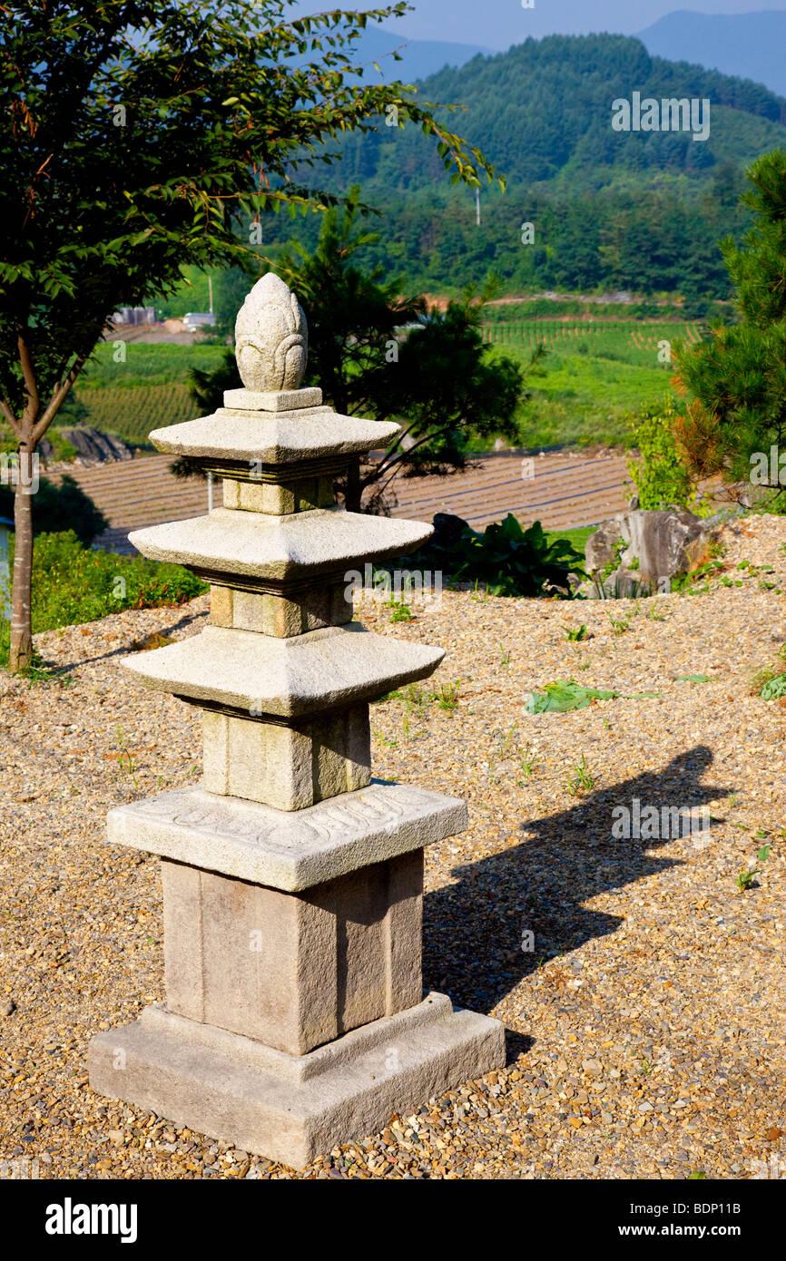 Buddhist Pagoda in Chungbuk Province South Korea - Stock Image