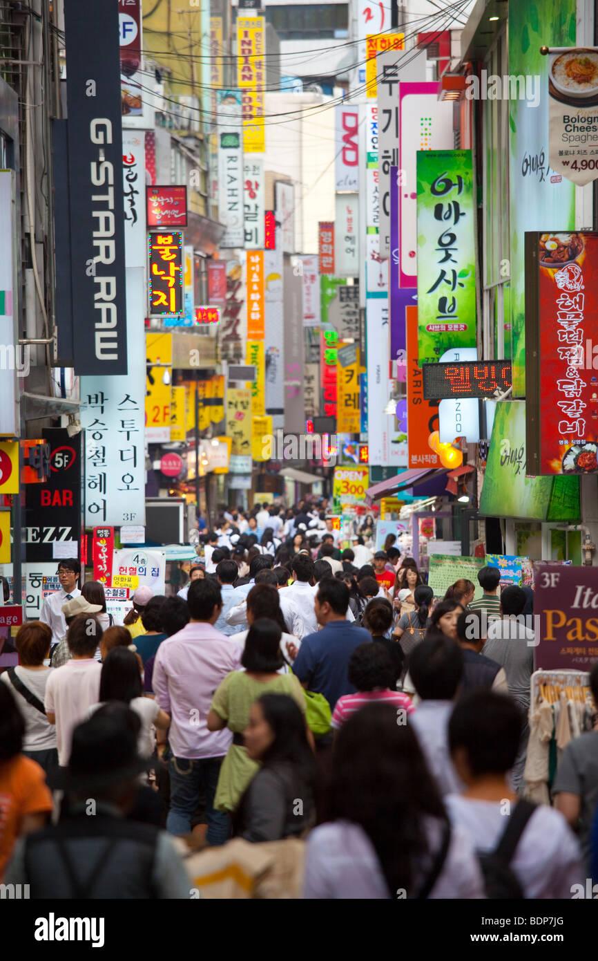 Myeongdong Market in Seoul South Korea - Stock Image