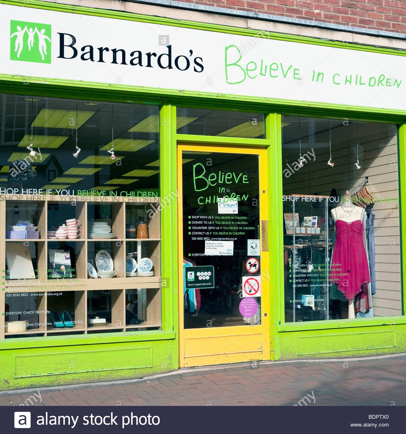 Barnardo's charity shop. - Stock Image