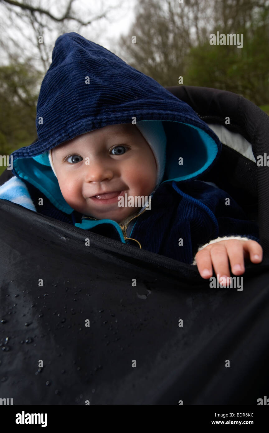 A smiling baby Sweden. - Stock Image