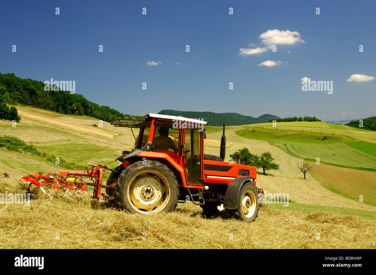 Tractor making hay on meadows in the Swiss Central Plateau, canton of Aargau, Switzerland - Stock Image