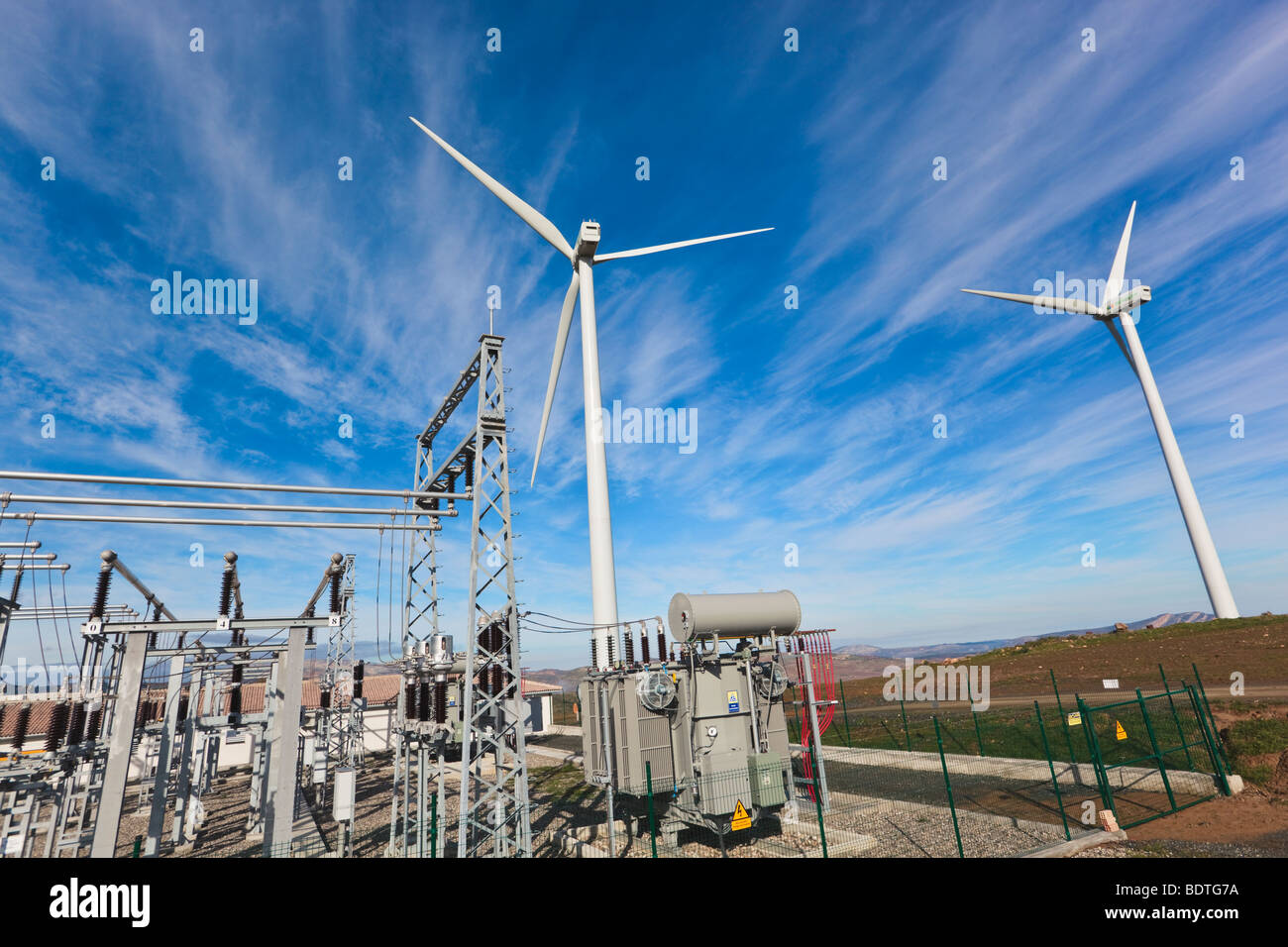 Wind energy centre near Ardales, Malaga Province, Spain. Windmills and transformers. - Stock Image