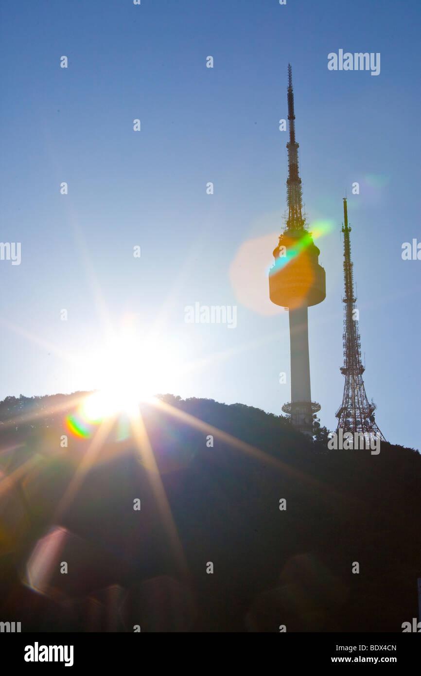 N Seoul Tower in Namsan Park in Seoul South Korea - Stock Image
