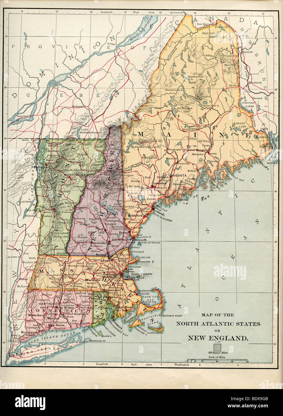 Old New England Map.Original Old Map Of New England From 1875 Geography Textbook Stock