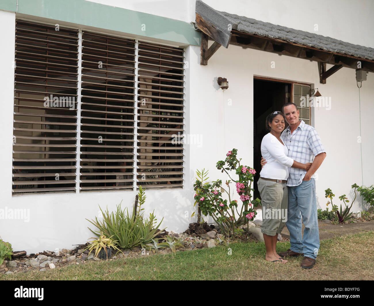 Couple Outside White House - Stock Image