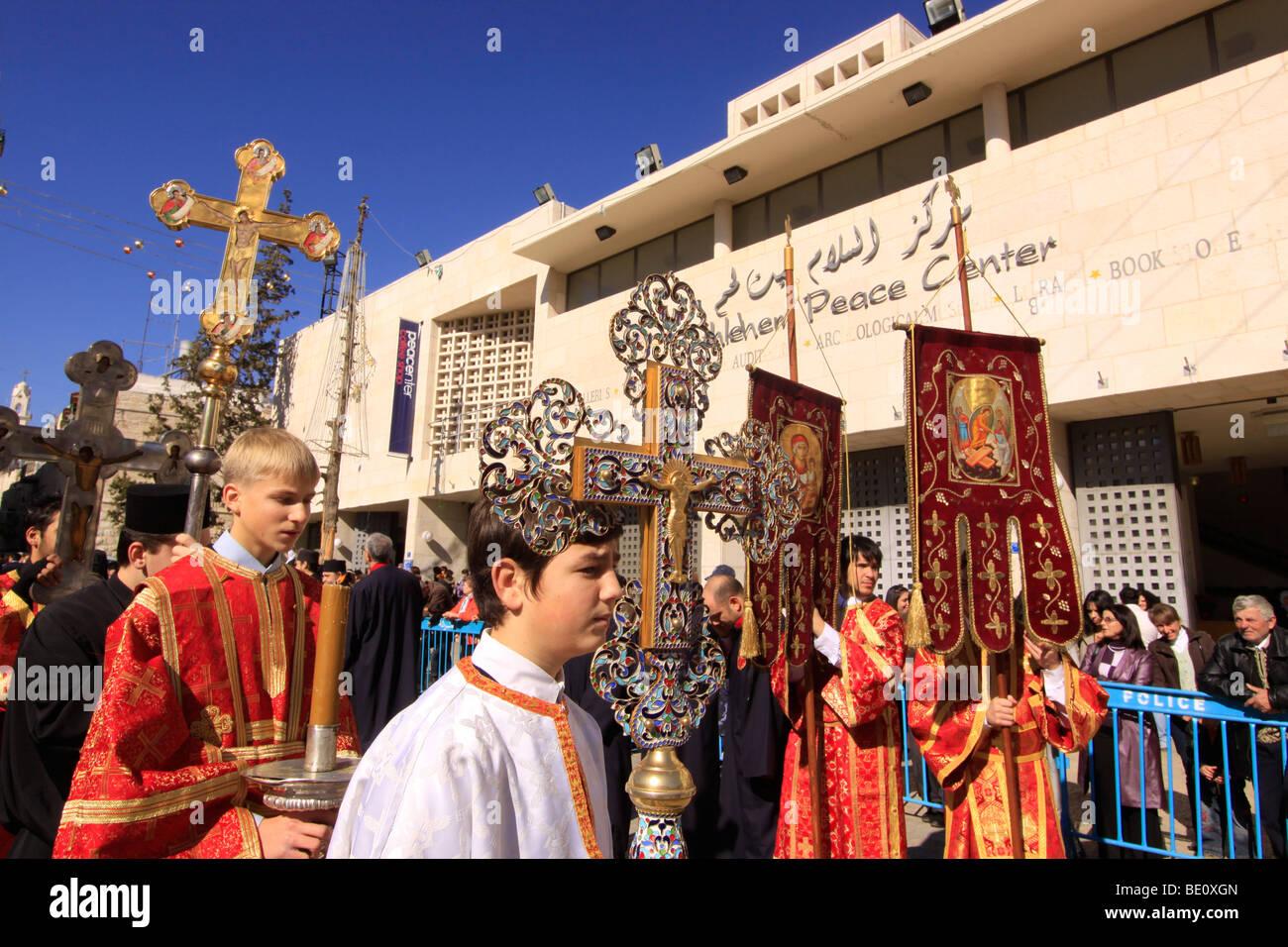 Bethlehem, the Greek Orthodox Christmas procession in Manger SquareStock Photo