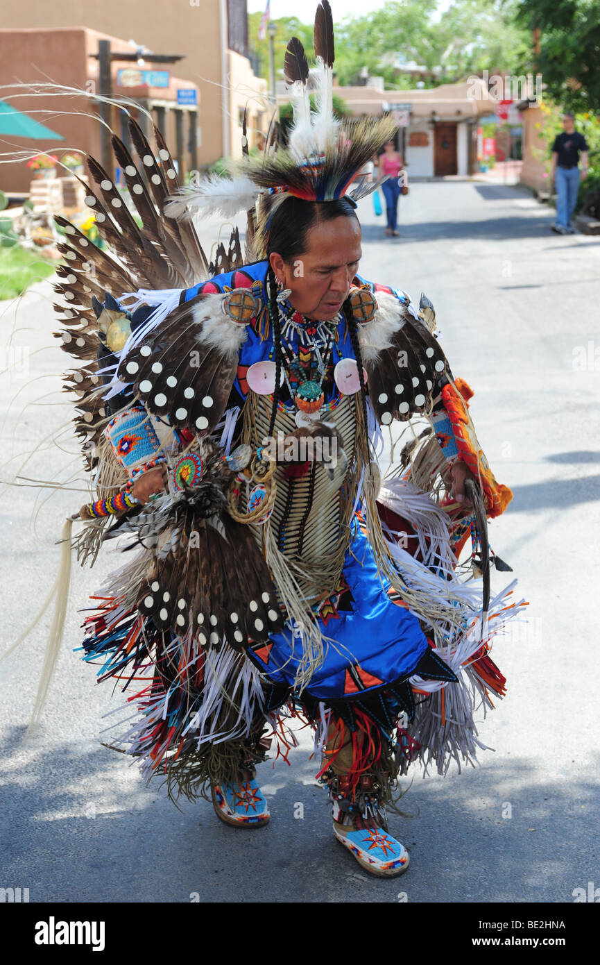 USA Native American Indian- Zuni- in traditional dress-Old Town Albuquerque, New Mexico-  EDITORIAL ONLY Stock Photo