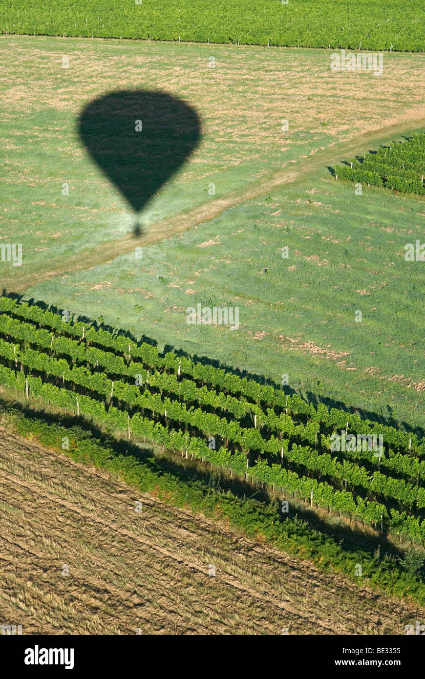 aerial view from hot air balloon basket looking down over harvested fields and vineyards in the Dordoigne, France - Stock Image