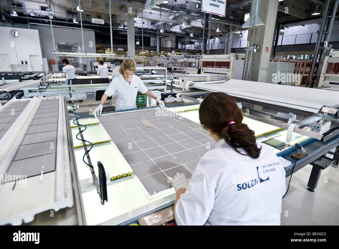 Production of solar modules at SOLON SE, Berlin-Adlershof, Germany, Europe - Stock Image