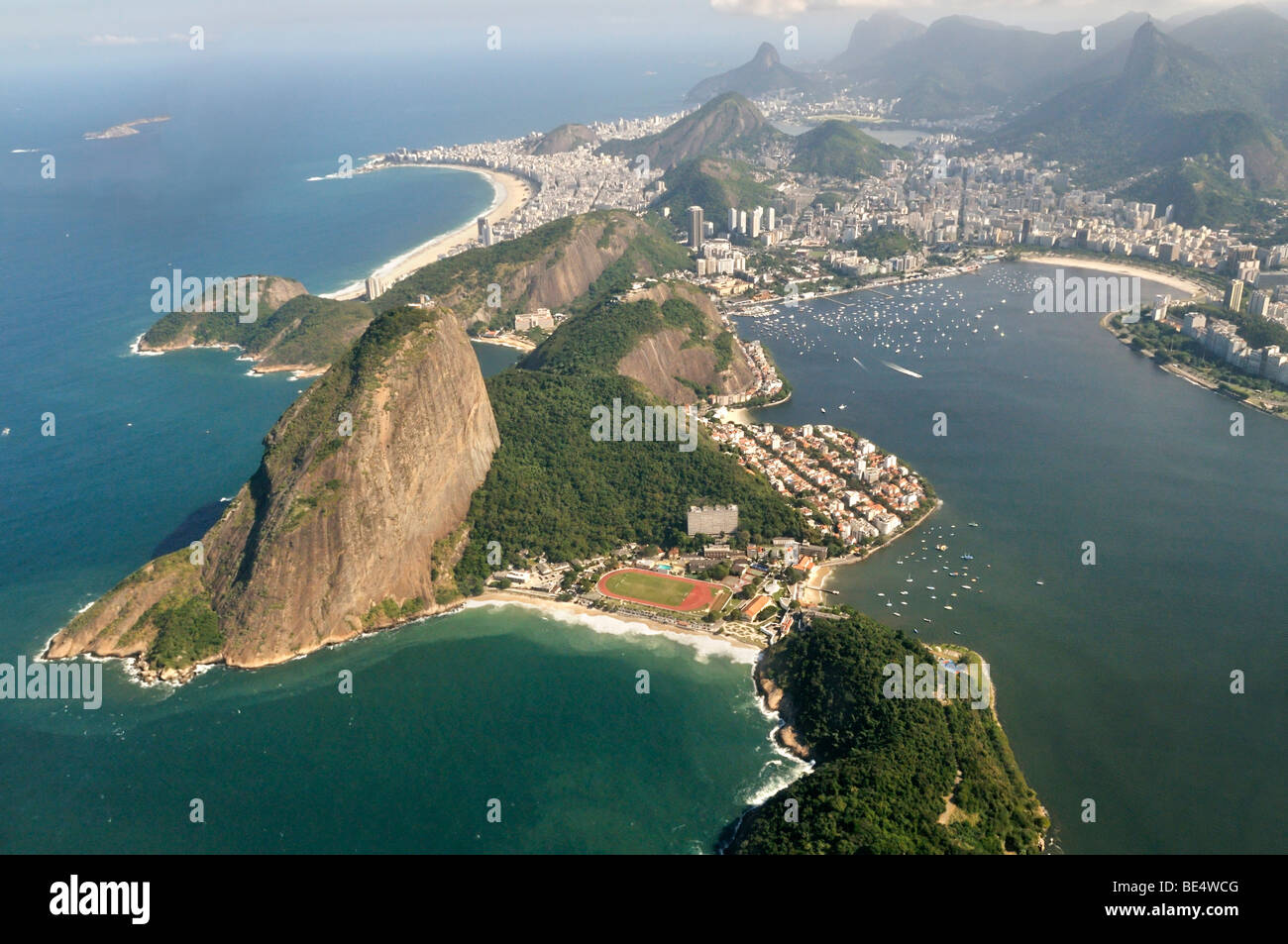 Aerial view of Rio de Janeiro and the Sugar Loaf, Brazil, South America - Stock Image