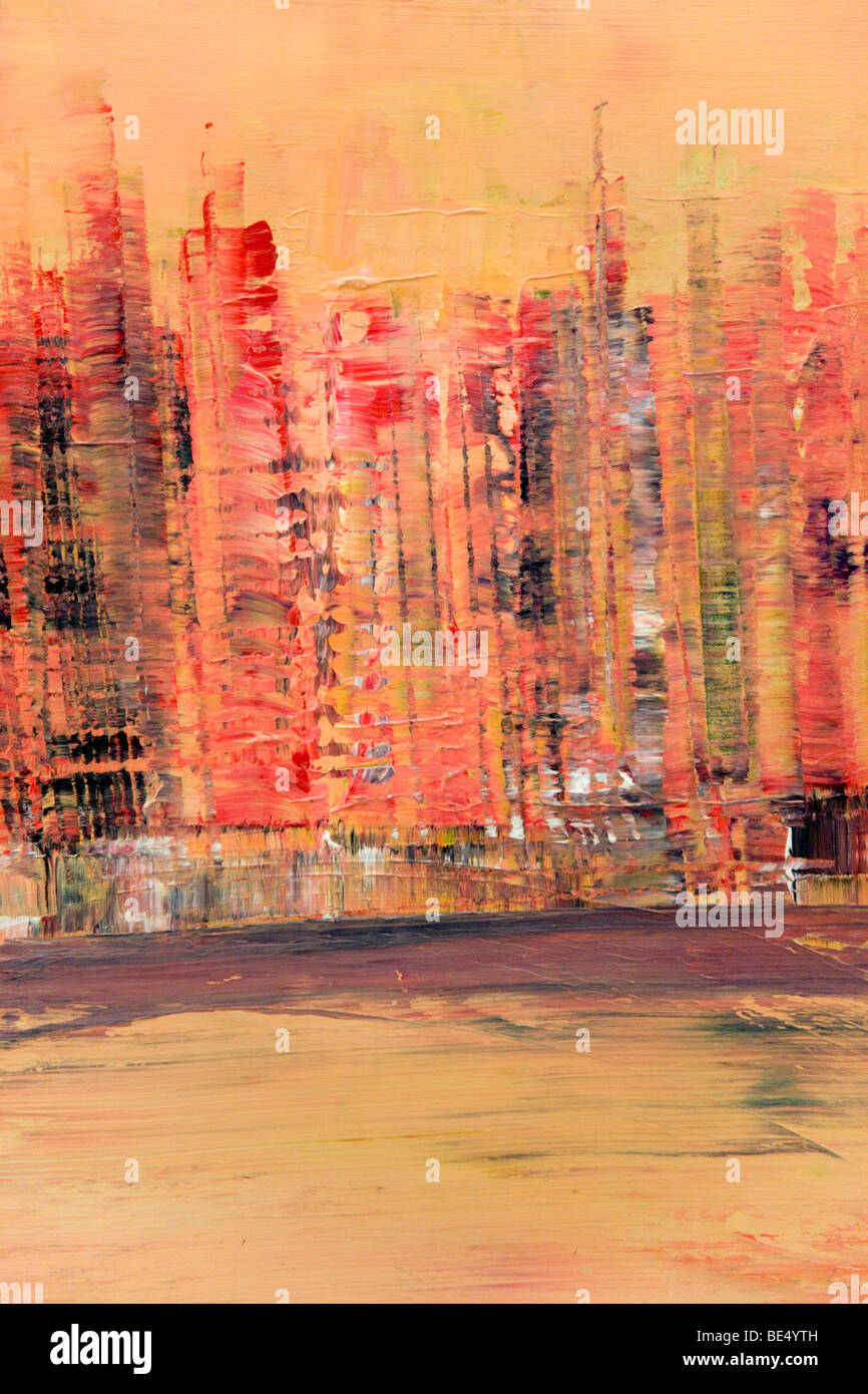 Skyline of Manhattan, New York, acrylic painting, artist Gerhard Kraus, Kriftel, Germany - Stock Image