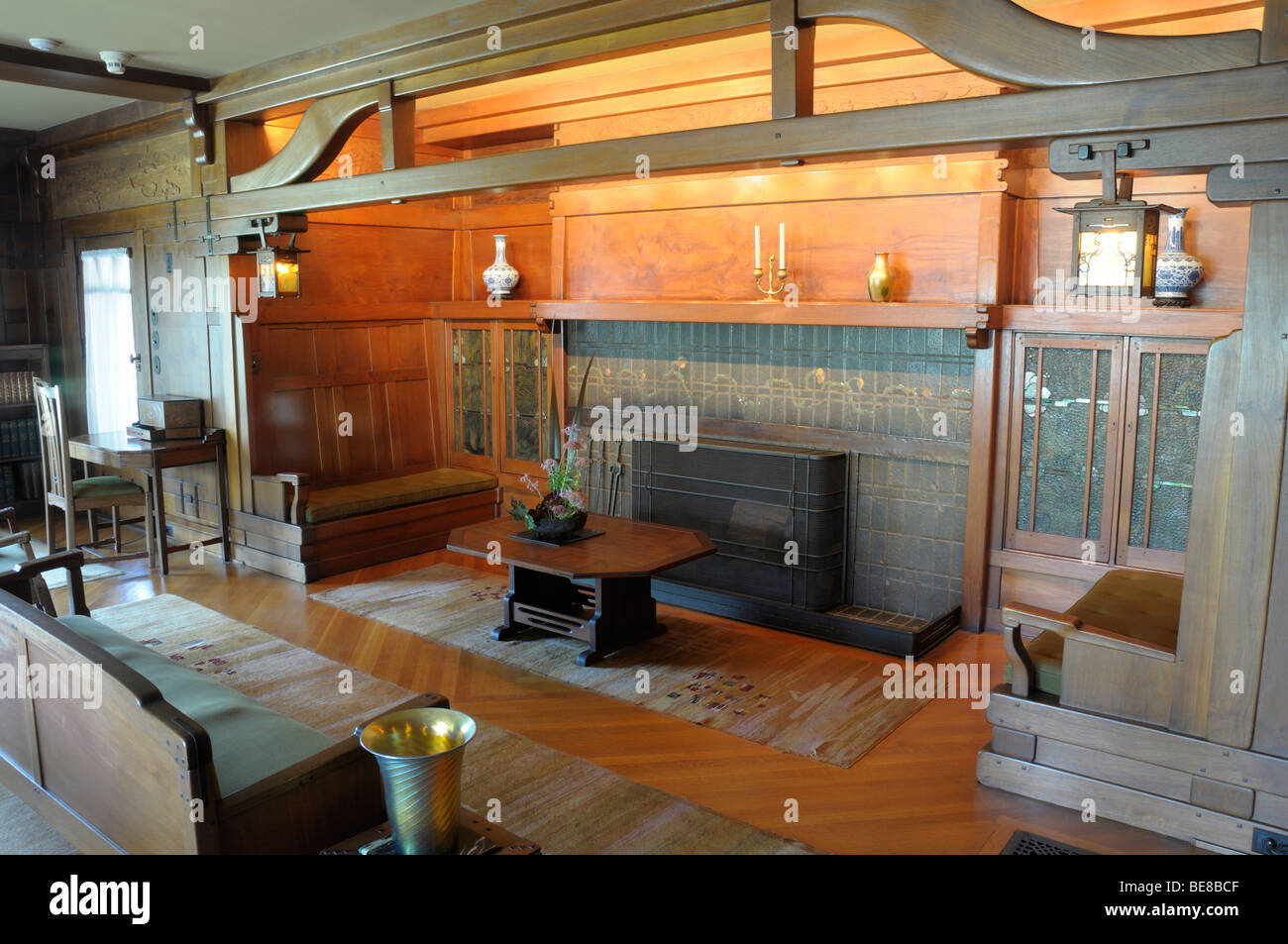 USA, California, Los Angeles, Living Room of The Gamble House in ...