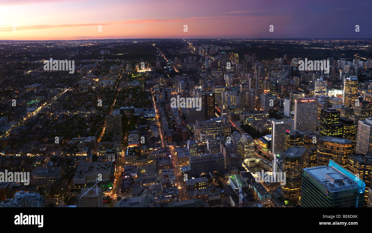 City of Toronto downtown panoramic view during sunset - Stock Image