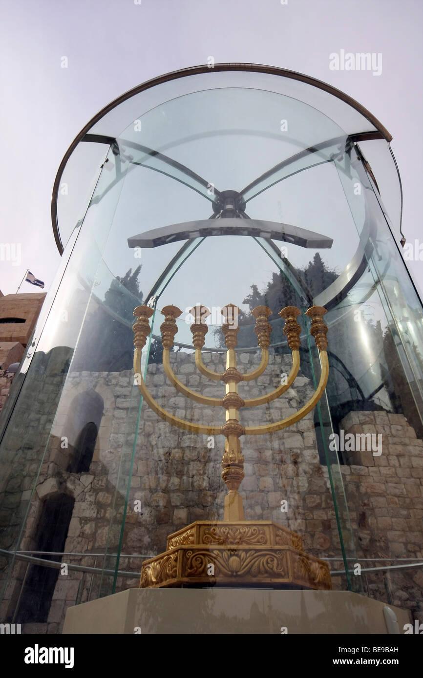 Israel, Jerusalem, Old City, Replica of the Golden temple Menorah - Stock Image