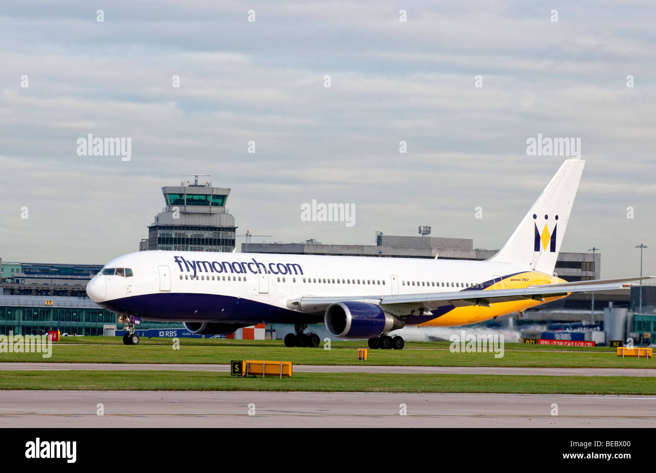 Monarch aircraft taxiing for take off from Manchester Airport (Ringway Airport) in Manchester, England - Stock Image