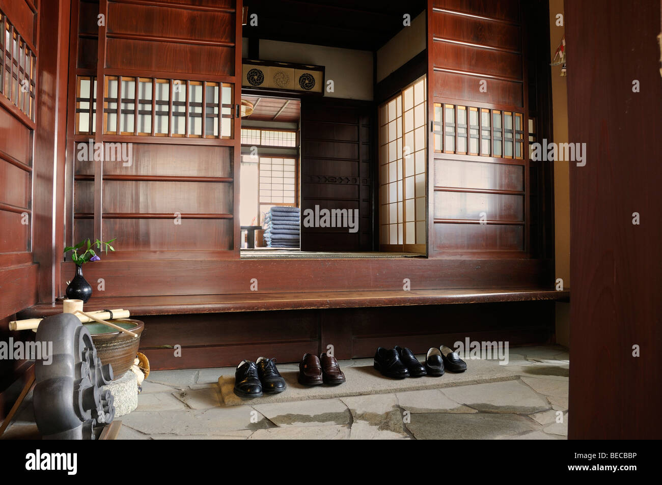 Traditional House, Shoes In The Entrance Hall, Kyoto, Japan, East Asia, Asia