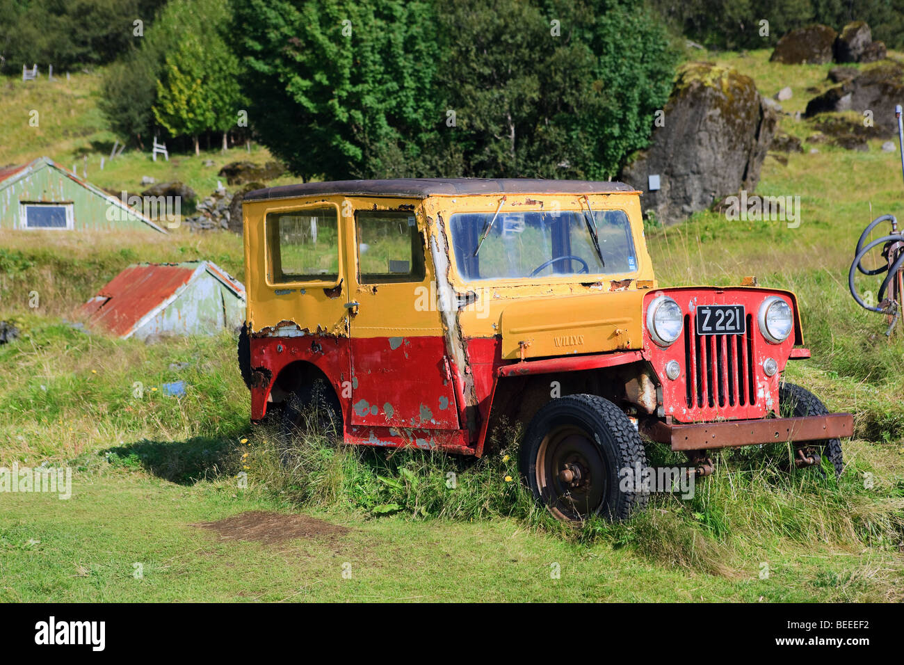 Willys Jeep, Iceland - Stock Image