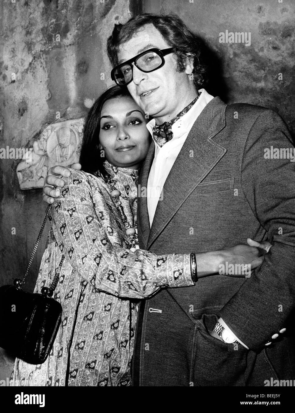 Actor Michael Caine and Guyanese-British model Shakira Baksh in 1972. Stock Photo