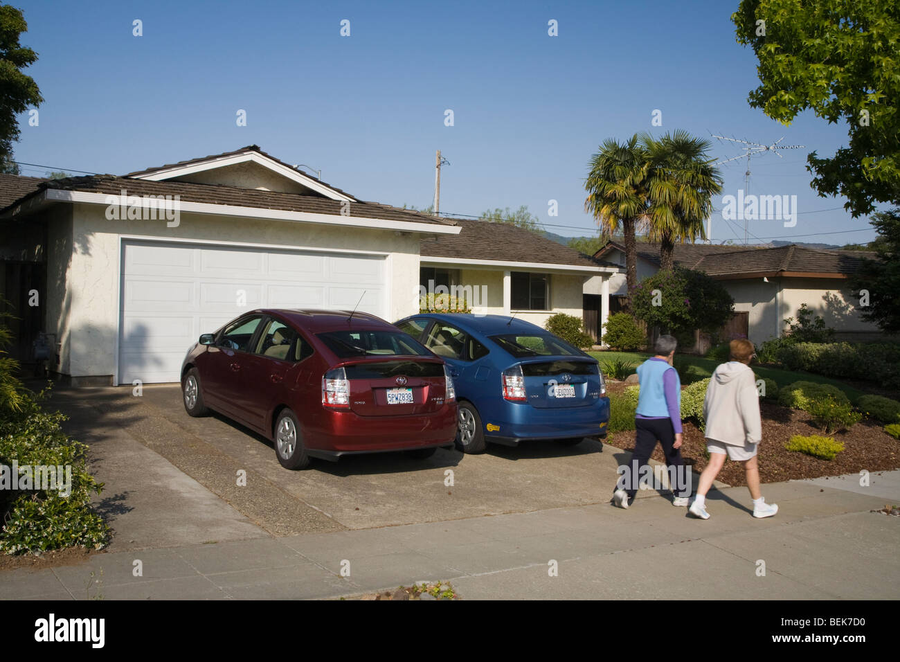 Two people passing two Toyota Prius hybrid cars which are parked in driveway. Cupertino, California, USA - Stock Image