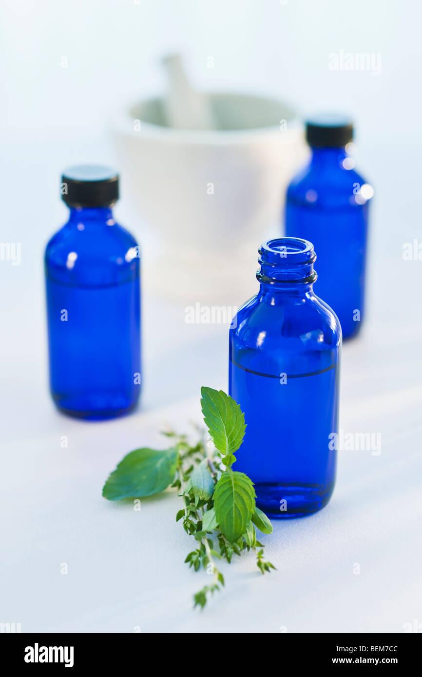 Blue bottles - Stock Image