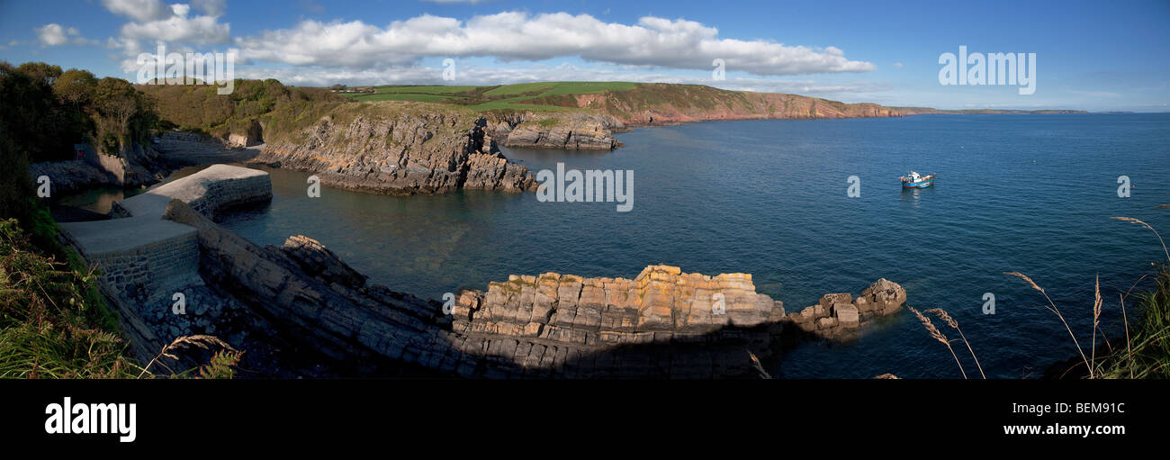 Panoramic view east from Stackpole Quay Pembrokeshire, West Wales UK. - Stock Image