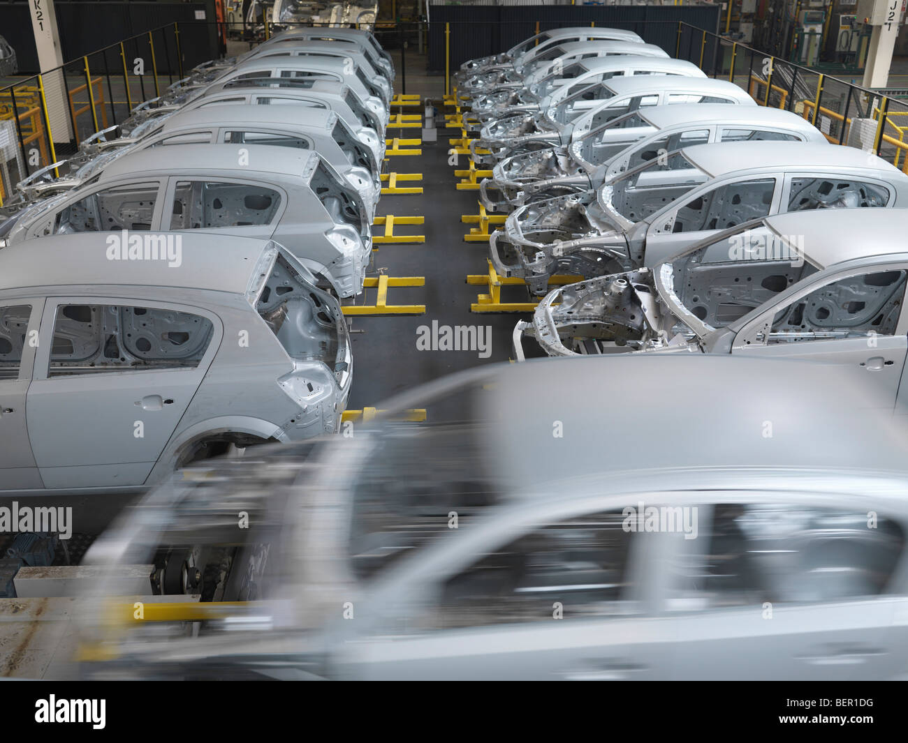 Cars In Production In Plant - Stock Image