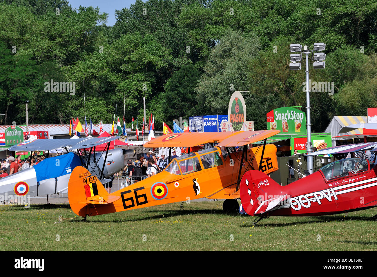 Biplanes at the airshow at Koksijde, Belgium - Stock Image