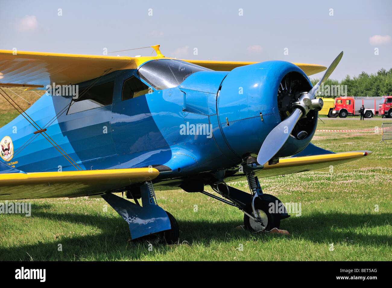 Biplane Beechcraft D17S Staggerwing at the airshow at Koksijde, Belgium - Stock Image