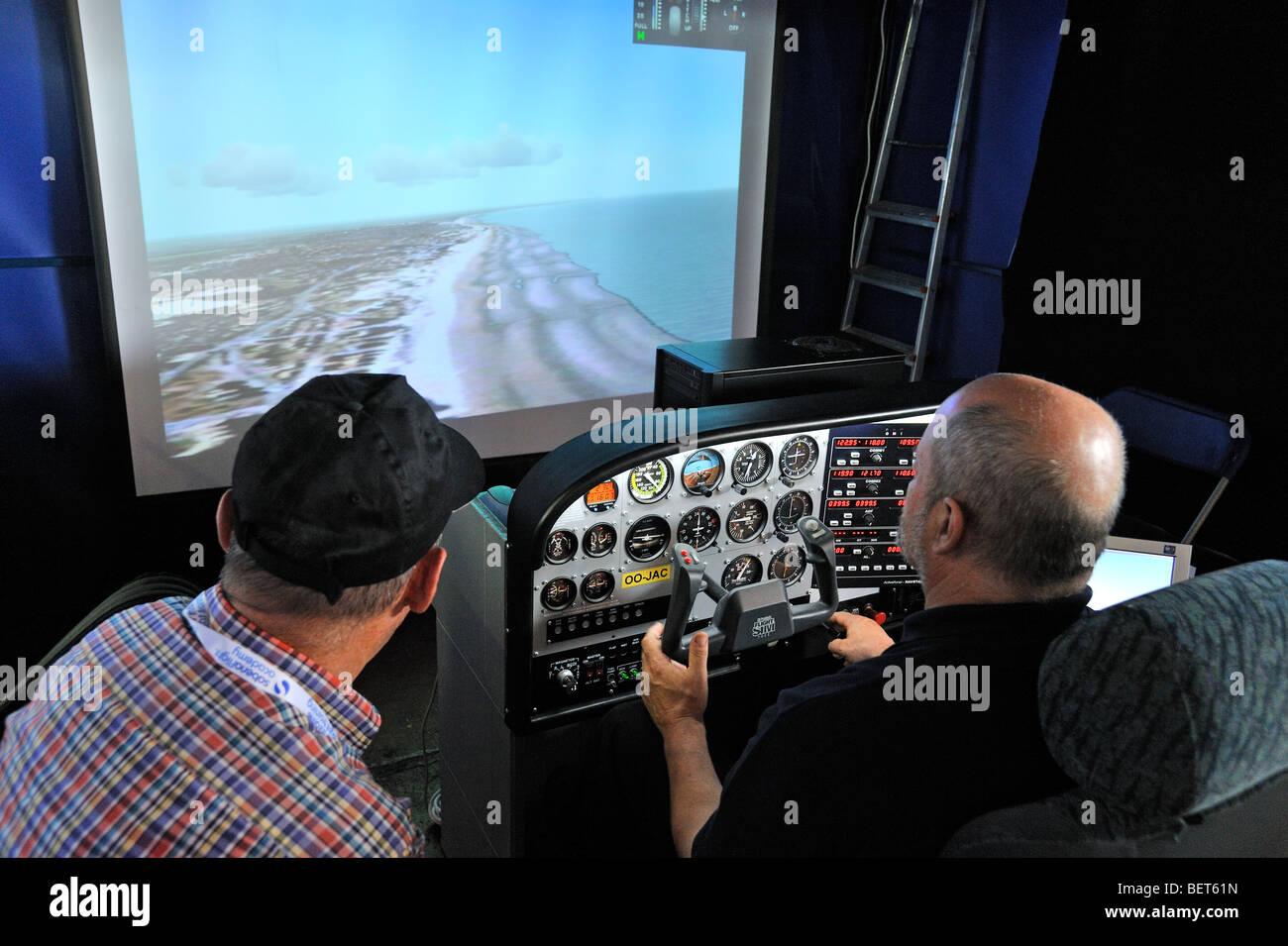 Flight simulator at the airshow at Koksijde, Belgium - Stock Image