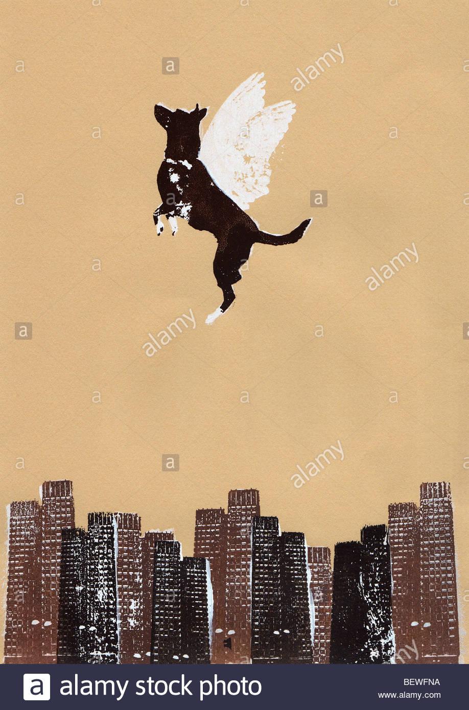 Winged dog flying above city - Stock Image