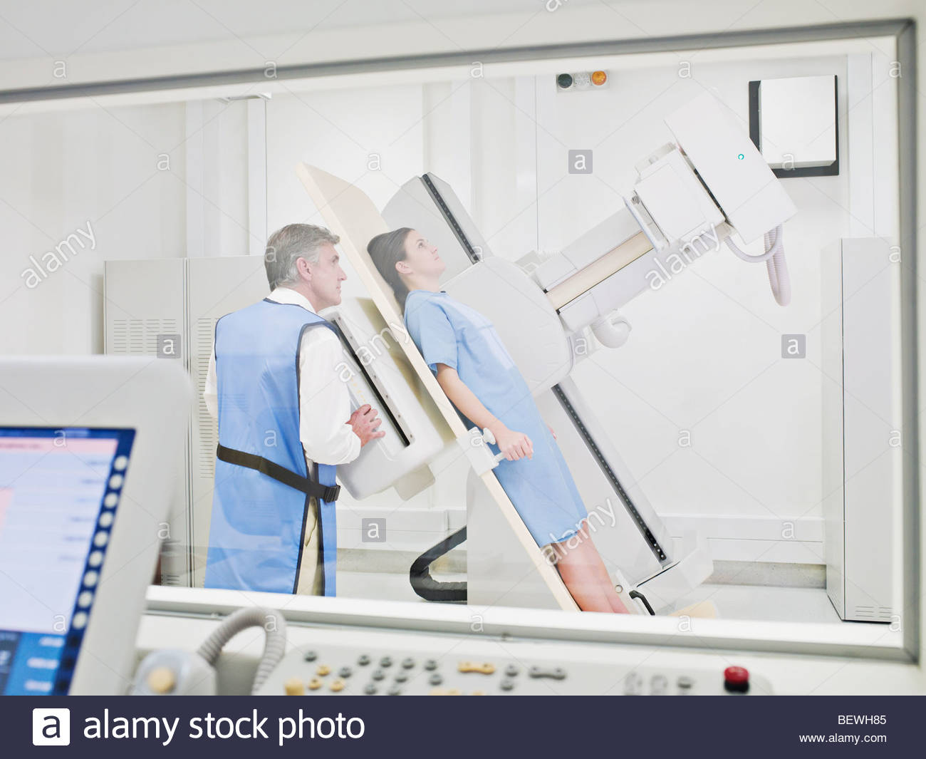 Patient having an x-ray examination - Stock Image