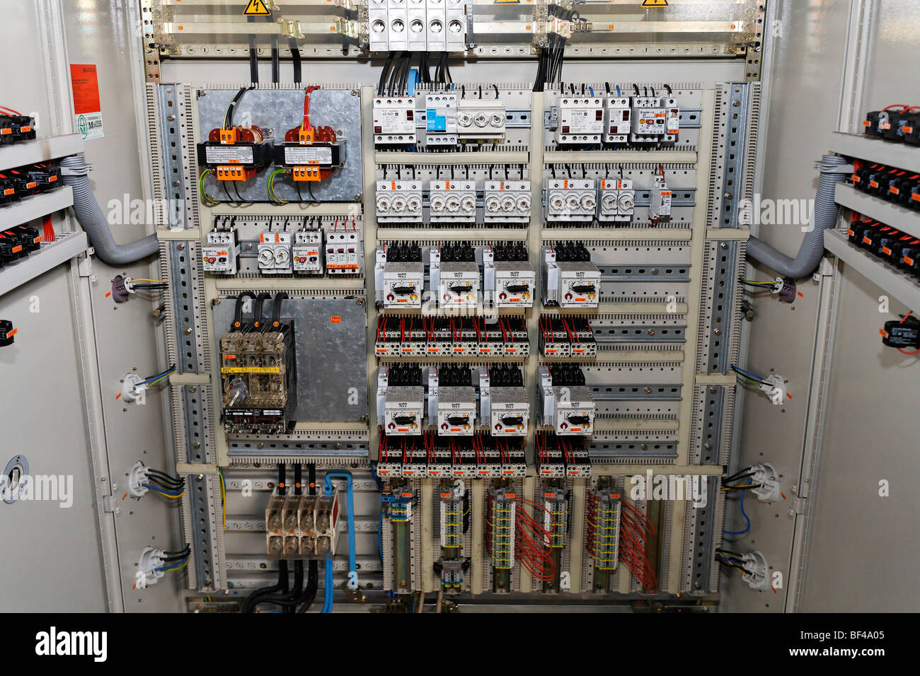 Fuse box, electric control room in a disused factory building, Duisburg-Wedau, North Rhine-Westphalia, Germany, - Stock Image