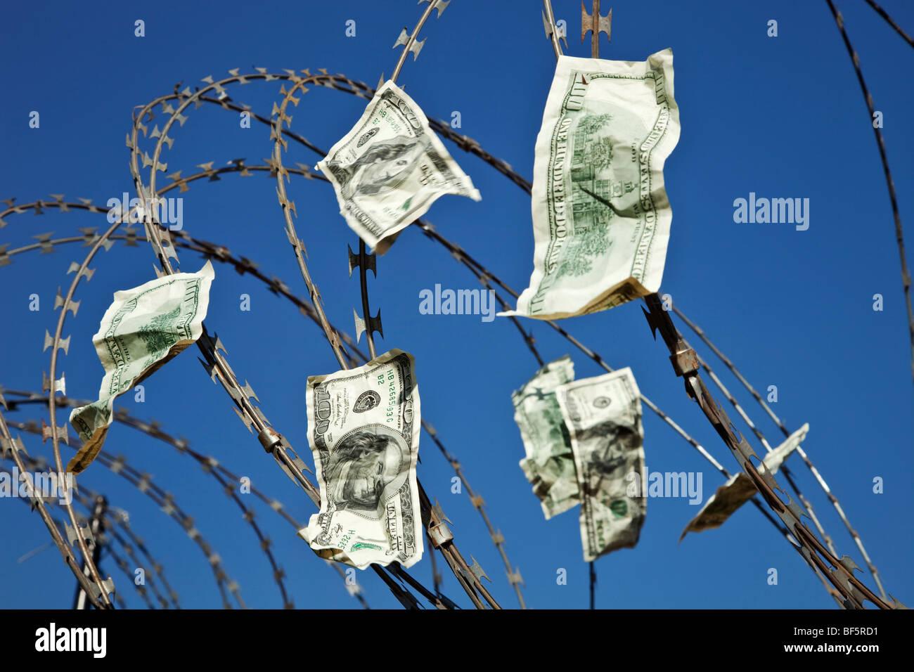 Hundred dollar bills. - Stock Image